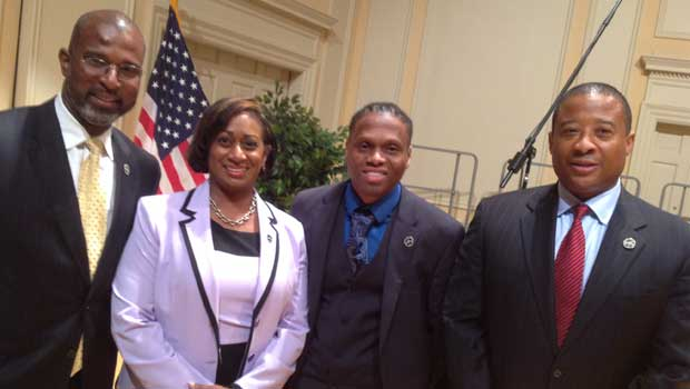 The Monsanto team joins Steve Mizell on the Library of Congress stage after his speech. (L to R): Dewayne Goldmon, Melissa Harper, Keithen Stallings and Steve Mizell.
